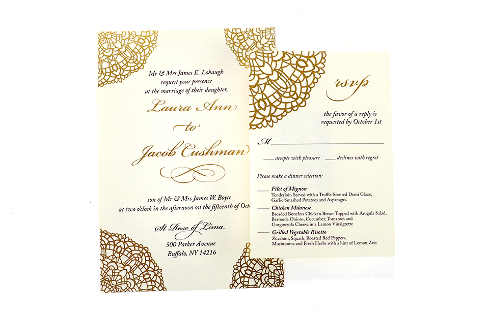 Foil Stamped Wedding Invitations Graphcon Buffalo NY